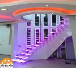 کف پله پلکسی با نورپردازی